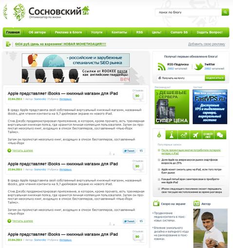 пример блога на вордпресс